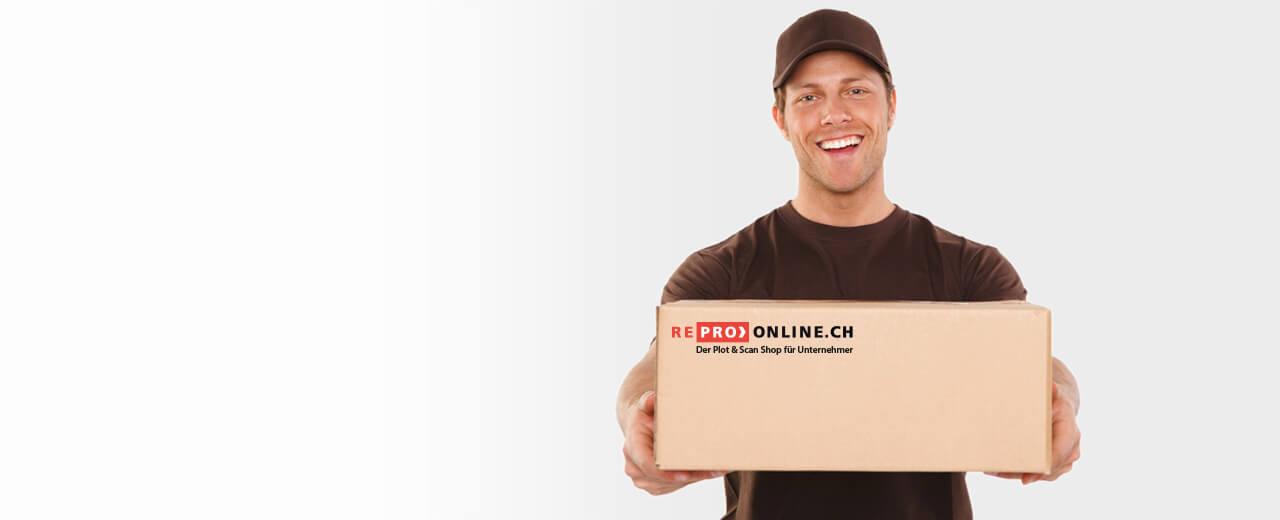 Ein Paketbote liefert ein Repro Online Paket