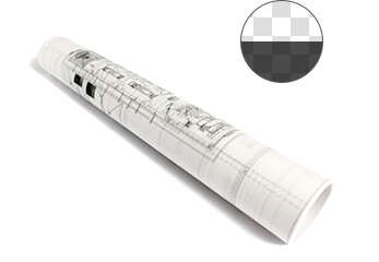 Gerollte technische Zeichnung auf Transparentpapier