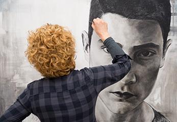 Künstler bei der Arbeit